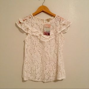 Lily White lace blouse cream color